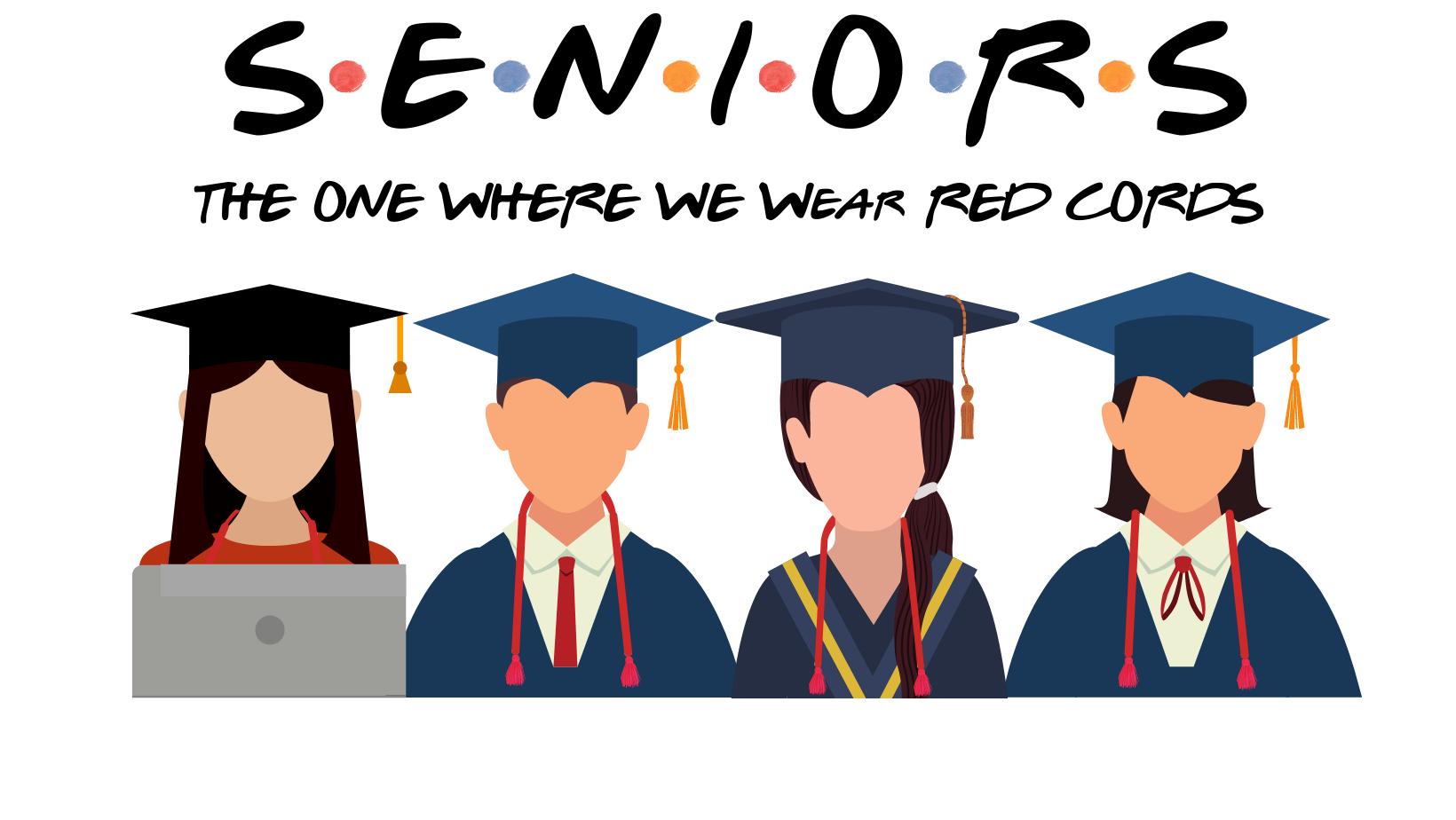 Graduates tossing graduation caps